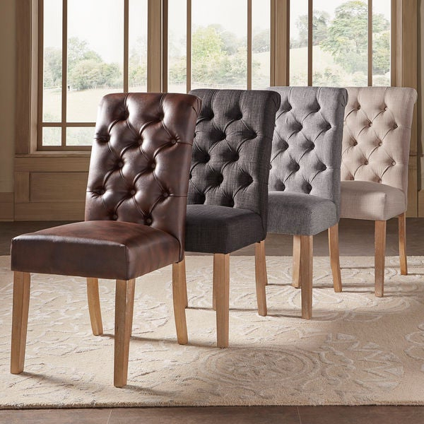 Shop Benchwright Premium Tufted Rolled Back Parsons Chairs (Set Of 2 Intended For Most Up To Date Evellen 5 Piece Solid Wood Dining Sets (Set Of 5) (View 17 of 20)