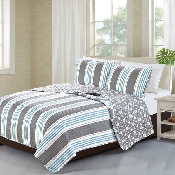 Shop Home Fashion Designs St. Croix Collection 3 Piece Coastal Quilt Within Trendy Saintcroix 3 Piece Dining Sets (Gallery 8 of 20)