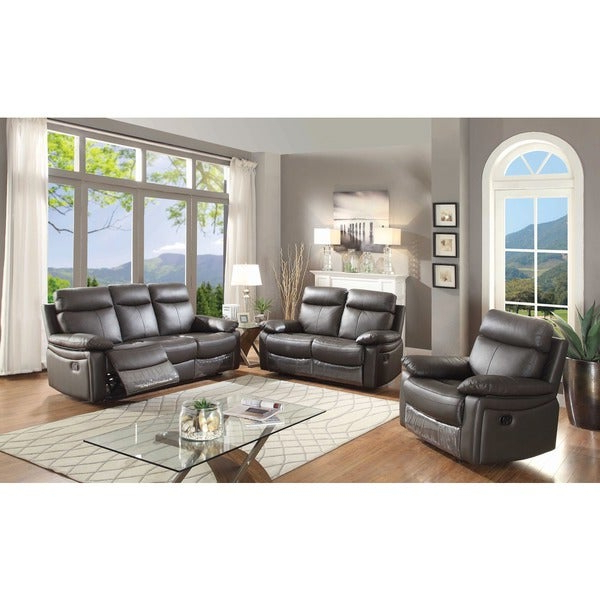 Shop Ryker Contemporary Leather 3 Piece Sofa Set With 5 Recliners In Widely Used Ryker 3 Piece Dining Sets (Gallery 16 of 20)