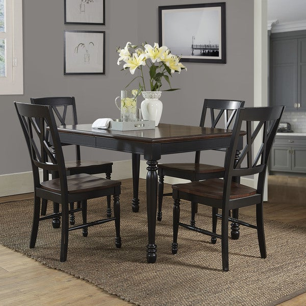 Shop Shelby Black Wood 5 Piece Dining Set – Free Shipping Today Pertaining To Well Known Laconia 7 Pieces Solid Wood Dining Sets (Set Of 7) (View 14 of 20)