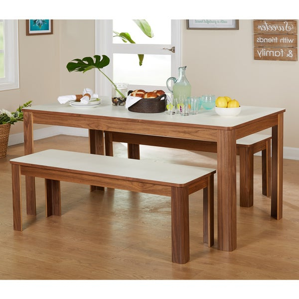 Shop Simple Living Dex 3 Piece Breakfast Table And Bench Set – Free Intended For Best And Newest 3 Piece Breakfast Dining Sets (View 16 of 20)