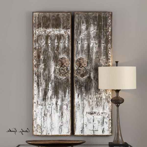 Shop Uttermost Giles Aged Wood Wall Art (Set Of 2) – Free Shipping Throughout Most Popular Giles 3 Piece Dining Sets (View 12 of 20)