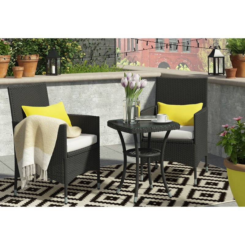 Sol 72 Outdoor Kinsler 2 Seater Bistro Set With Cushions & Reviews Throughout Most Up To Date Kinsler 3 Piece Bistro Sets (View 13 of 20)