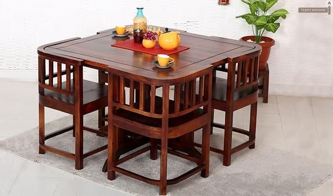 Space Saving Dining Table, Unique Inside Evellen 5 Piece Solid Wood Dining Sets (Set Of 5) (Gallery 9 of 20)