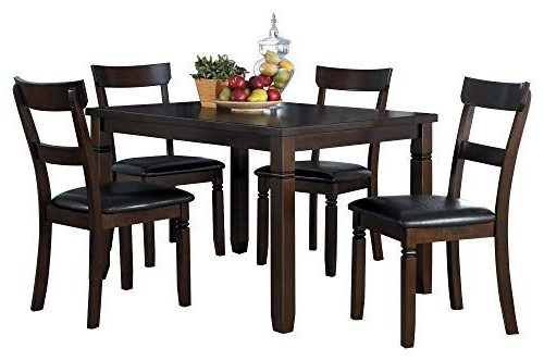 Sundberg 5 Piece Solid Wood Dining Sets Regarding Fashionable Offenberg 5pc Dining Set Table & 4 Chair In Dark Brown (View 14 of 20)