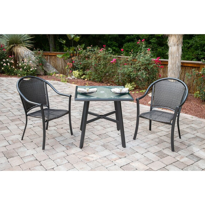 Trendy Charlton Home Bearden 3 Piece Commercial Grade Patio Set With 2 Inside Bearden 3 Piece Dining Sets (View 3 of 20)