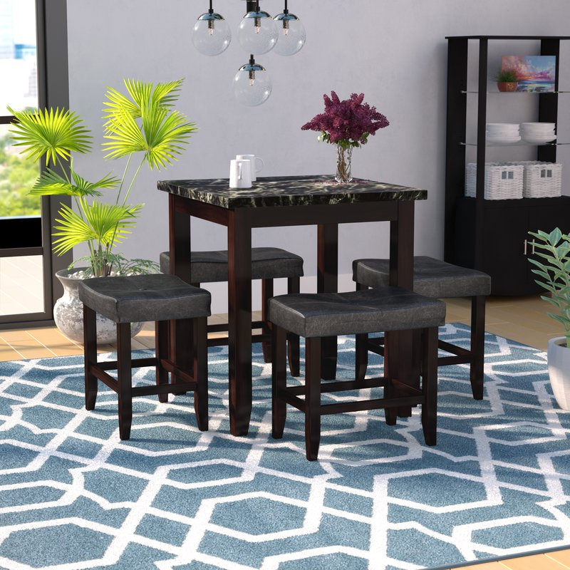 Trendy Dehaven 5 Piece Counter Height Dining Set & Reviews (View 17 of 20)