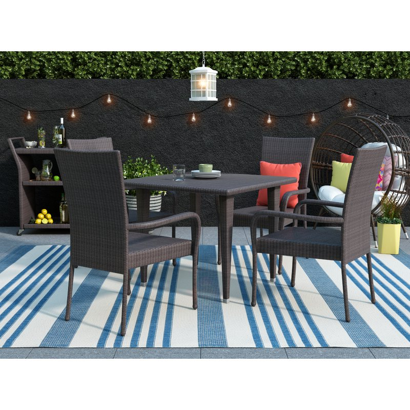 Trendy Gunning Outdoor 5 Piece Dining Set & Reviews (Gallery 12 of 20)