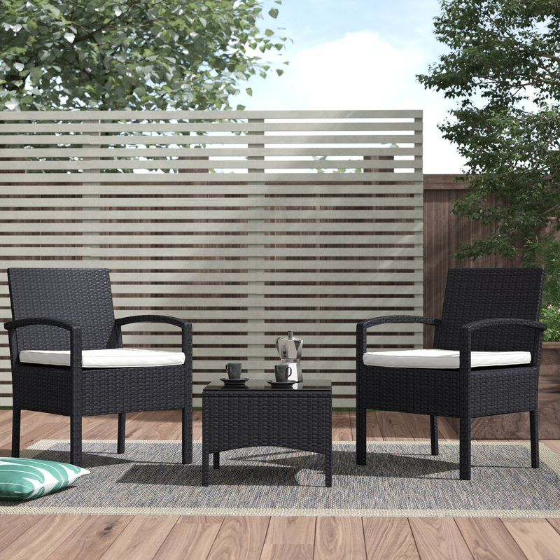 Trendy Kinsler 3 Piece Bistro Sets With Regard To Kinsler 2 Seater Bistro Set With Cushions (View 18 of 20)