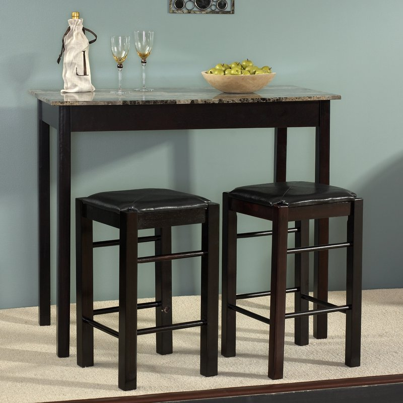 Trendy Tenney 3 Piece Counter Height Dining Sets Inside Sheetz 3 Piece Counter Height Dining Set & Reviews (View 19 of 20)