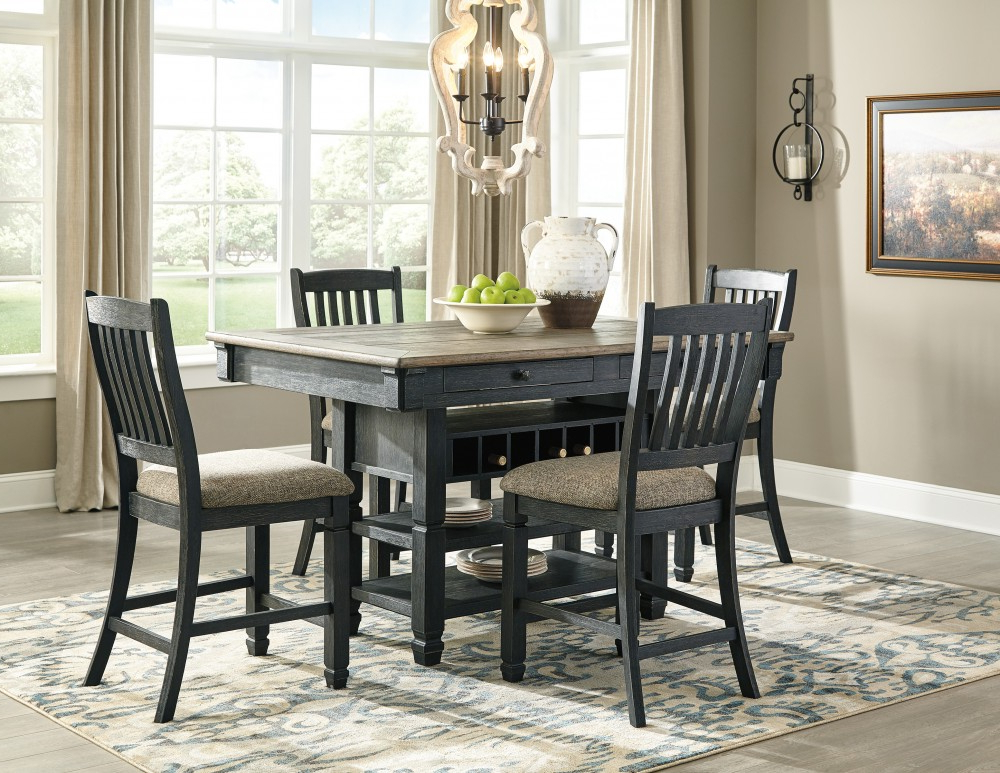 Tyler Creek – Rect Dining Room Counter Table & 4 Uph Barstools With Regard To Most Recent Linette 5 Piece Dining Table Sets (View 16 of 20)