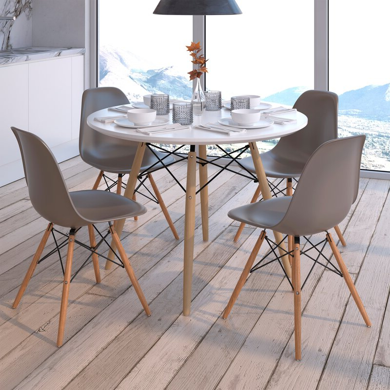 Wayfair Pertaining To Goodman 5 Piece Solid Wood Dining Sets (set Of 5) (View 11 of 20)