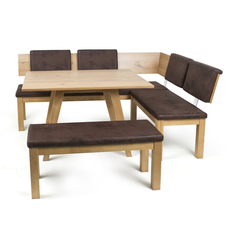 Well Known 3 Piece Breakfast Nook Dinning Set Regarding Desouza 3 Piece Breakfast Nook Dining Set & Reviews (View 4 of 20)
