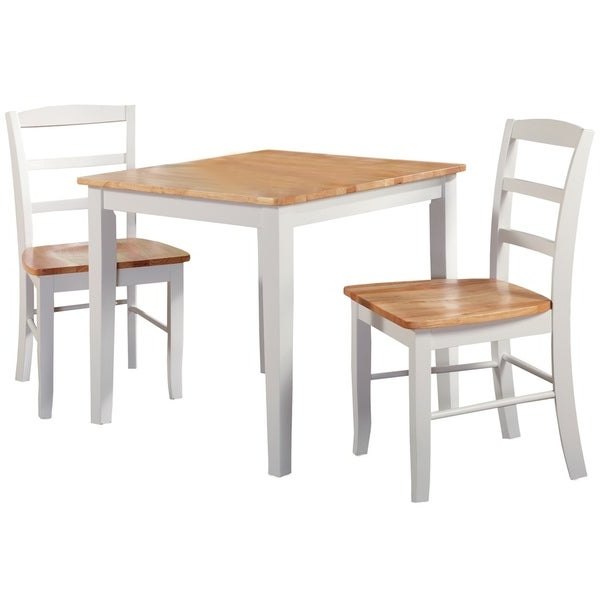 Well Known 3 Piece Dining Sets Regarding Shop 30 Inch Square Natural/ White 3 Piece Dining Set – Free (View 6 of 20)