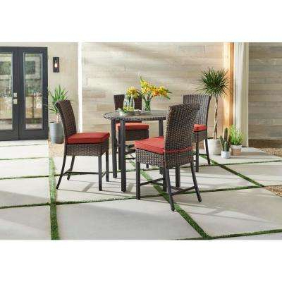 Well Known Bate Red Retro 3 Piece Dining Sets With Bar Height – Patio Dining Sets – Patio Dining Furniture – The Home Depot (View 20 of 20)