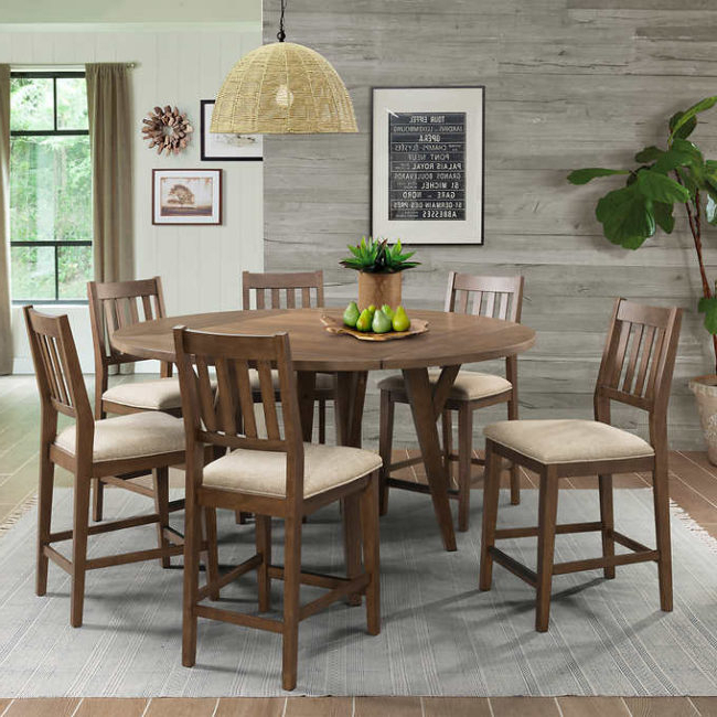 Well Known Biggs 5 Piece Counter Height Solid Wood Dining Sets (Set Of 5) With Bernard 7 Piece Counter Height Square To Round Dining Set – Gadget (Gallery 17 of 20)