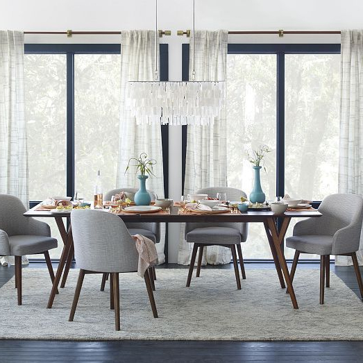 Well Known Mid Century Cotton Canvas Etched Grid Curtains (set Of 2) – Slate Inside Wallflower 3 Piece Dining Sets (Gallery 19 of 20)