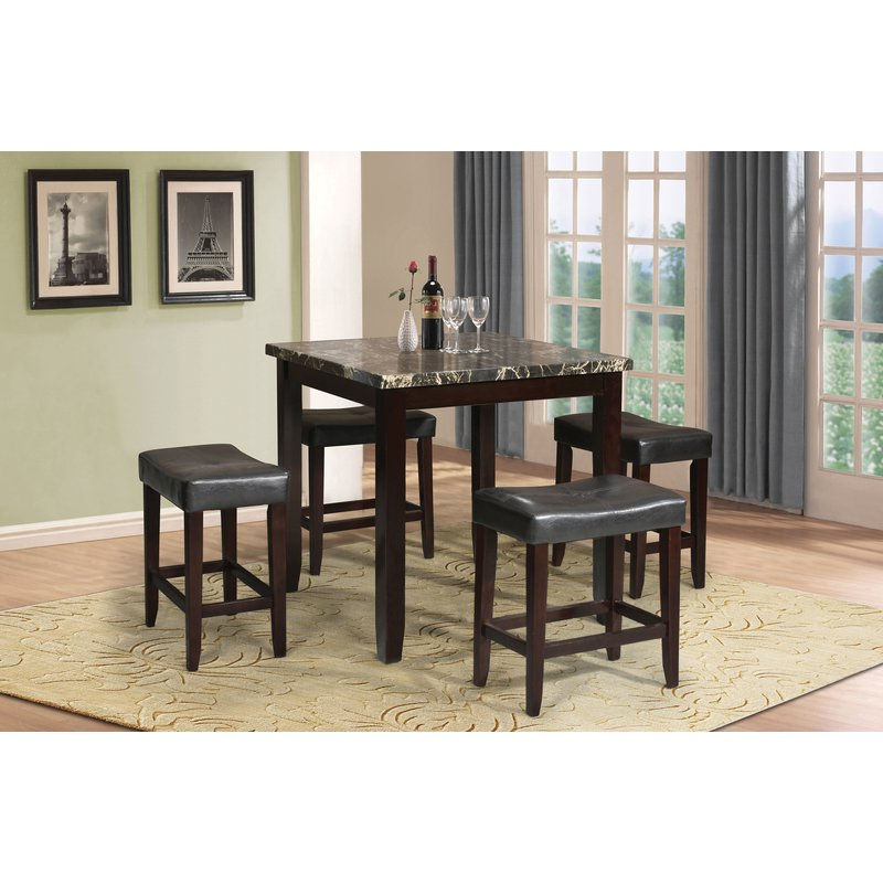 Well Known Nutter 3 Piece Dining Sets With Regard To Dehaven 5 Piece Counter Height Dining Set & Reviews (View 15 of 20)