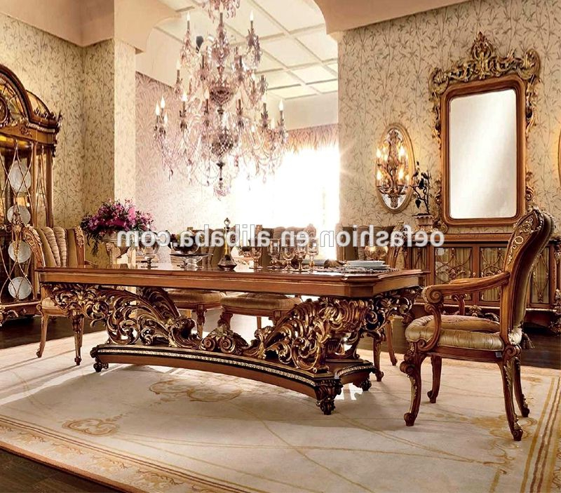 Well Known Oe Fashion Luxury Style Royal Wood Dining Table And Chair Set With With Adan 5 Piece Solid Wood Dining Sets (Set Of 5) (View 19 of 20)