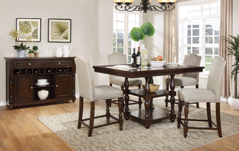 Well Known Penelope 3 Piece Counter Height Wood Dining Sets With Regard To Mf D1889 5Pc 5 Pc Penelope Dark Finish Wood Turned Legs Counter (View 18 of 20)