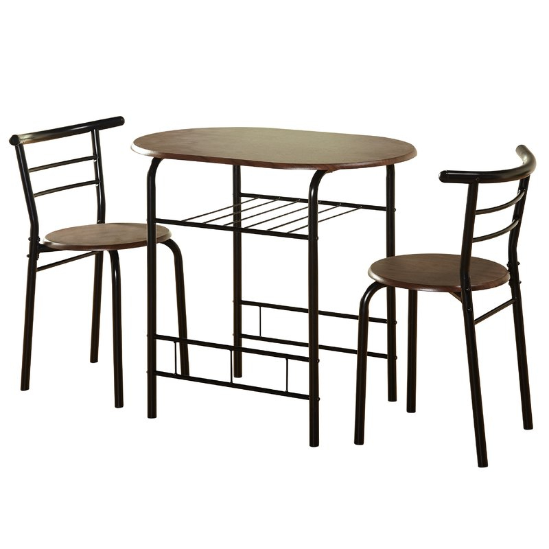 Well Known Zipcode Design Volmer 3 Piece Compact Dining Set & Reviews (Gallery 9 of 20)