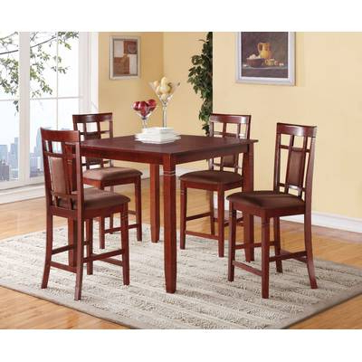 Well Liked Alcott Hill Biggs 5 Piece Counter Height Solid Wood Dining Set (Gallery 5 of 20)