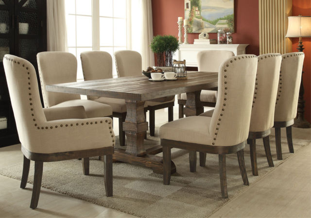Well Liked Chelmsford 3 Piece Dining Sets With New Chelmsford Formal 9Pc Transitional Taupe Wood Tufted Fabric (View 19 of 20)