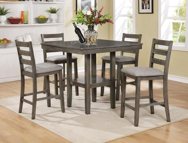 Well Liked Cm2630Set Gy 5 Pc Grey Brown Finish Wood Counter Height Dining Table For Anette 3 Piece Counter Height Dining Sets (Gallery 7 of 20)