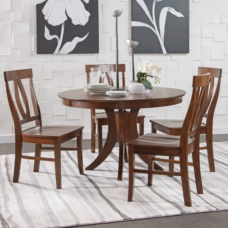 Well Liked John 4 Piece Dining Sets Within John Thomas Sienna Pedestal Dining Table Set In Espresso (View 7 of 20)