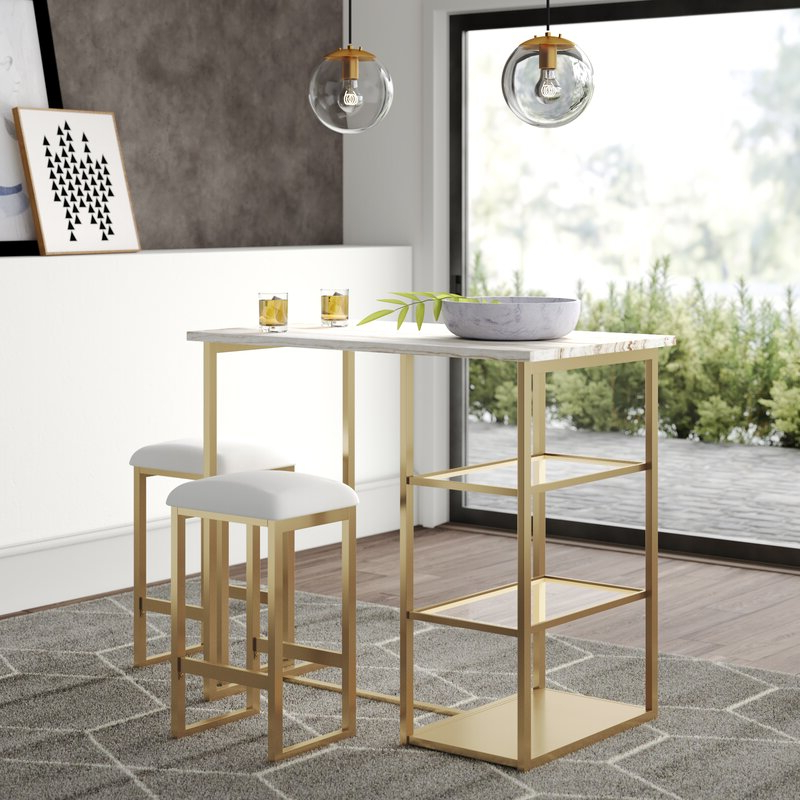 Well Liked Kaya 3 Piece Dining Sets With Wayfair (Gallery 13 of 20)