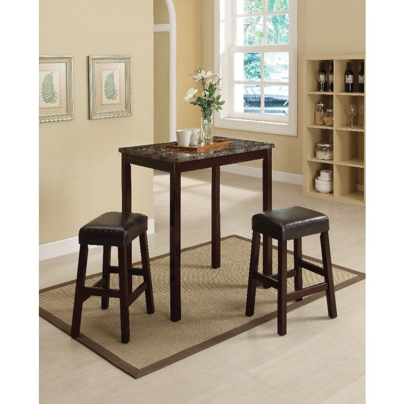 Well Liked Penelope 3 Piece Counter Height Wood Dining Sets Regarding Winston Porter Port Augusta 3 Piece Counter Height Solid Wood Dining (Gallery 3 of 20)