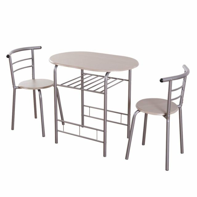 White Loft Dining Table Set 3 Piece Breakfast Kitchen Bistro Metal With 2020 3 Piece Breakfast Dining Sets (View 17 of 20)