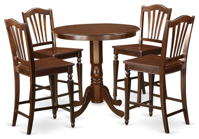 Widely Used Evelyn Counter Height Dining Table Set, Mahogany, 5 Pieces Throughout Evellen 5 Piece Solid Wood Dining Sets (Set Of 5) (View 19 of 20)