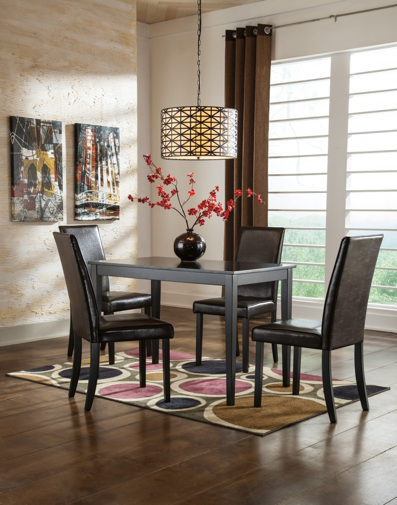 Widely Used Kimonte Rectangular Table & 4 Uph Side Chairs Regarding Linette 5 Piece Dining Table Sets (View 20 of 20)