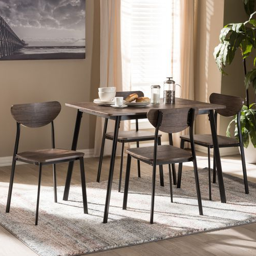 Widely Used Muirgan Black Frame 5 Piece Dining Set In  (View 16 of 20)