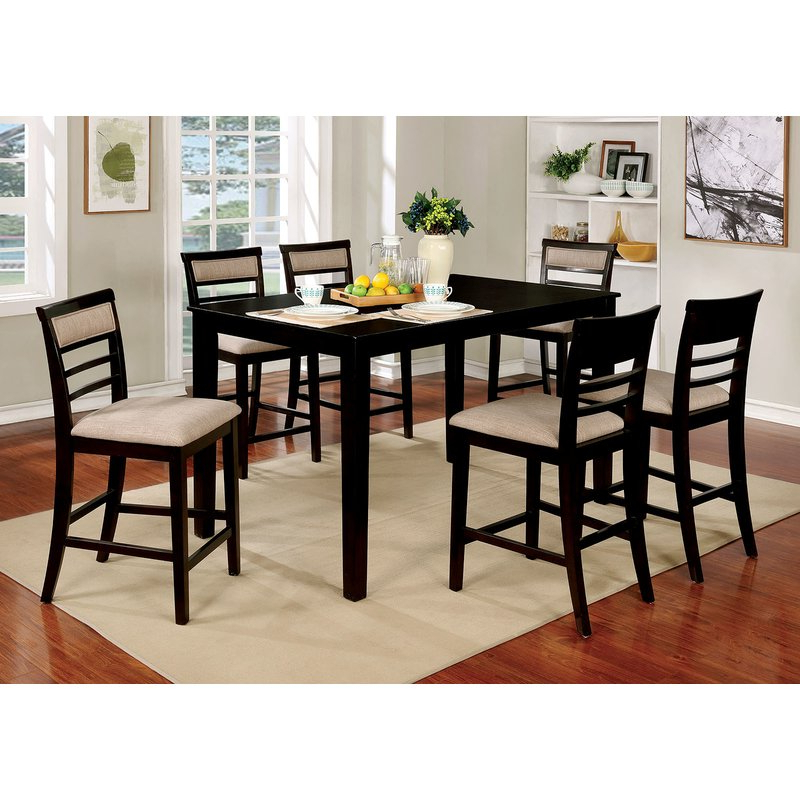 Widely Used Red Barrel Studio Harness Wooden 7 Piece Counter Height Dining Table Inside Hanska Wooden 5 Piece Counter Height Dining Table Sets (set Of 5) (View 4 of 20)