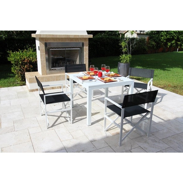 Widely Used Shop Del Mar White Director Chair 5 Piece Dining Set – Free Shipping Intended For Delmar 5 Piece Dining Sets (View 5 of 20)