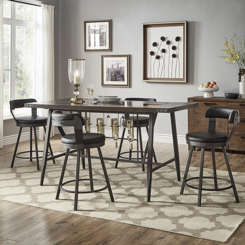 Williston Forge Craighead 5 Piece Counter Height Dining Set Pertaining To Latest Presson 3 Piece Counter Height Dining Sets (View 4 of 20)