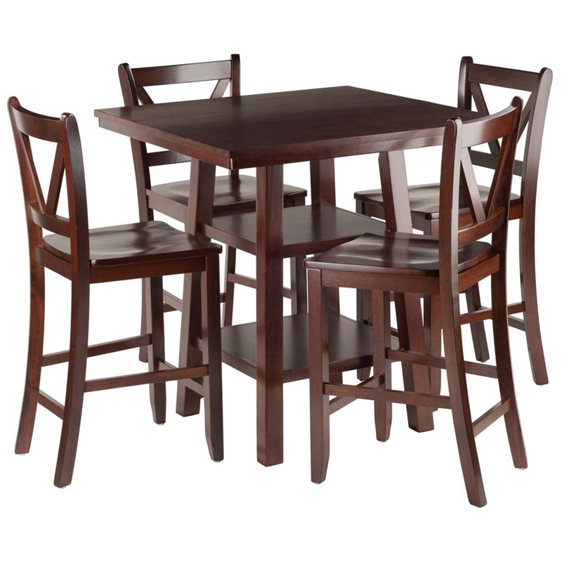 Winsome 3 Piece Counter Height Dining Sets For Preferred Winsome Orlando 5 Piece Square Counter Height Dining Set In Walnut (Gallery 18 of 20)