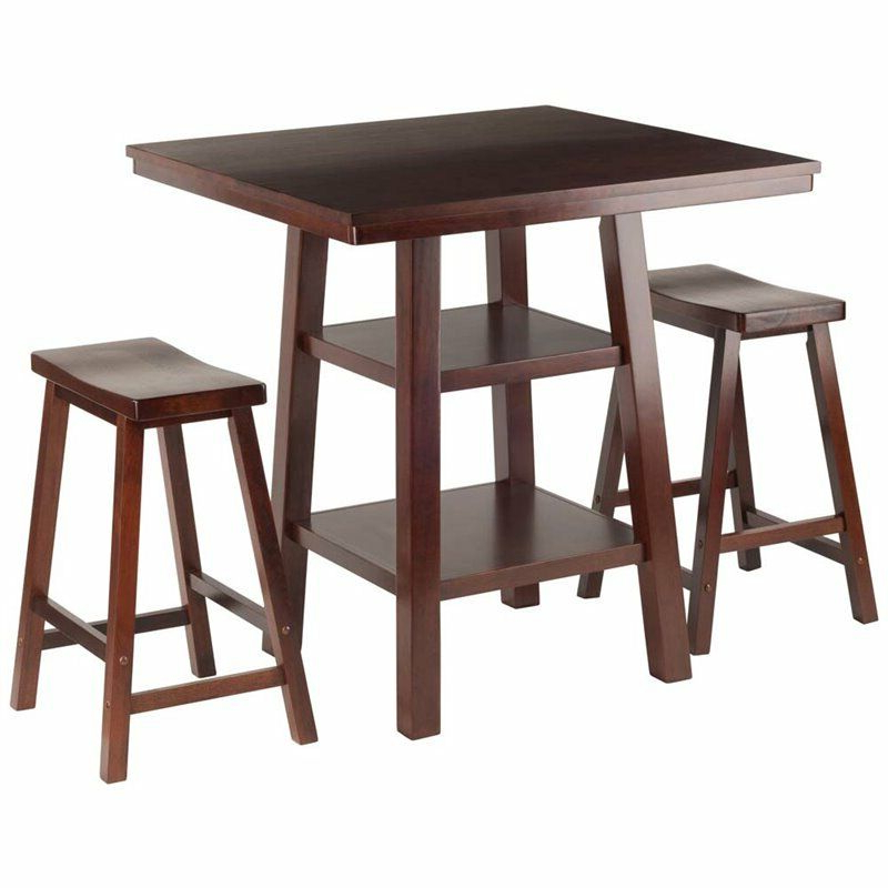 Winsome 3 Piece Counter Height Dining Sets Inside Widely Used Winsome Orlando 3 Piece Square Counter Height Dining Set In Walnut (Gallery 14 of 20)