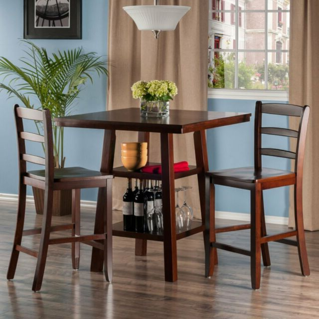 Winsome 3 Piece Counter Height Dining Sets Intended For Most Recently Released Buy Winsome Wood Orlando 3 Piece Set High Table 2 Shelves With (View 10 of 20)