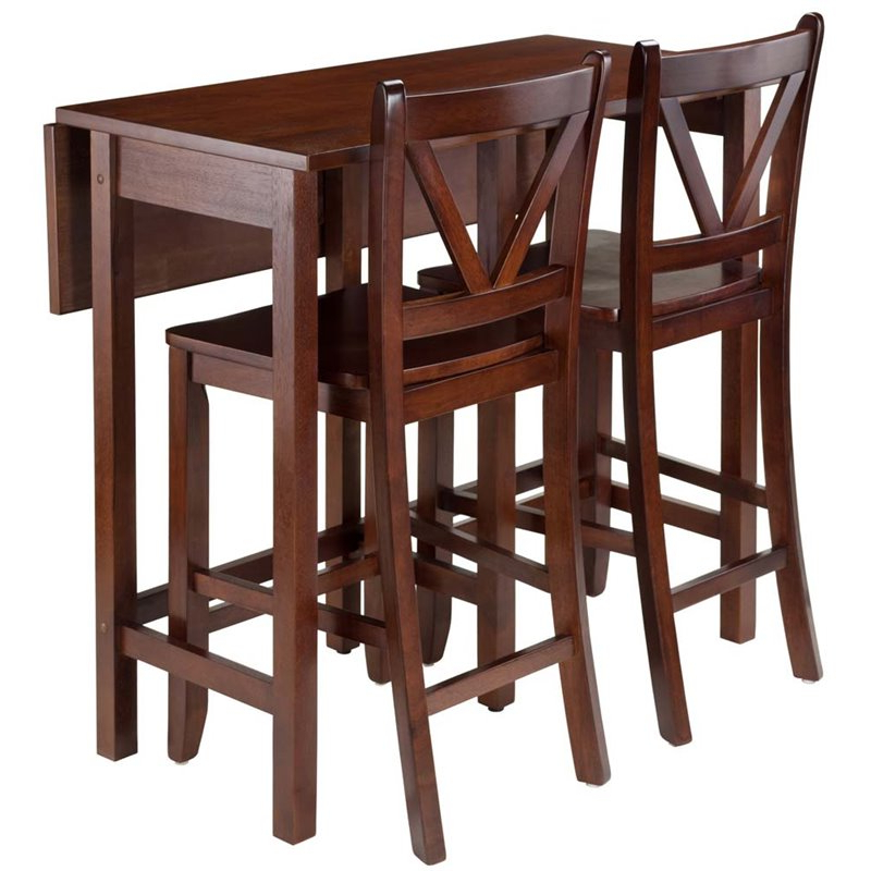 Winsome Lynnwood 3 Piece Drop Leaf Counter Height Dining Set In Inside Well Liked Winsome 3 Piece Counter Height Dining Sets (View 4 of 20)