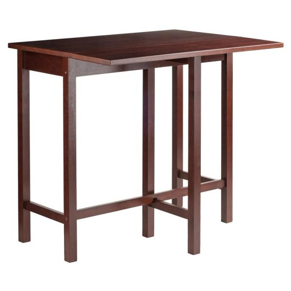 Winsome Wood Lynnwood Drop Leaf High Table In Walnut 94149 – The Throughout Newest Winsome 3 Piece Counter Height Dining Sets (View 13 of 20)