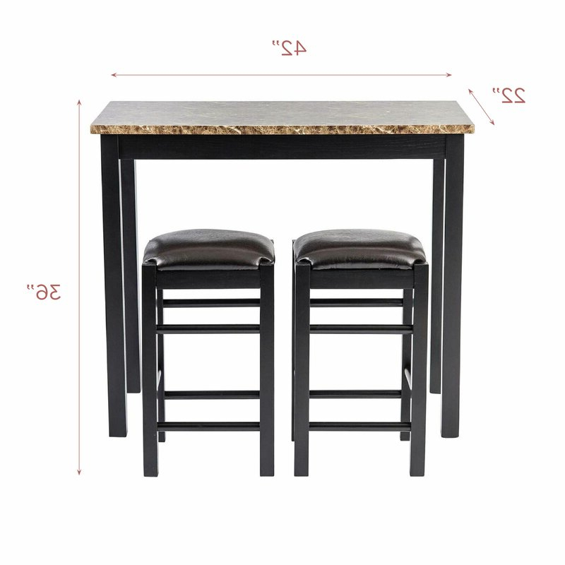 Winston Porter Moorehead 3 Piece Counter Height Dining Set & Reviews With Most Popular Penelope 3 Piece Counter Height Wood Dining Sets (Gallery 14 of 20)