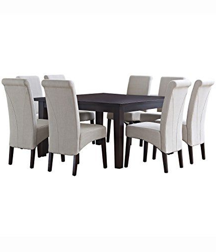 Yedinak 5 Piece Solid Wood Dining Sets With Regard To Popular Simpli Home 9 Piece Avalon Dining Set Natural Linen >>> You Can Get (View 5 of 20)