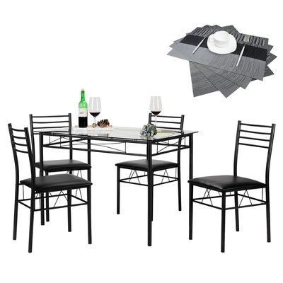 Zipcode Design North Reading 5 Piece Dining Table Set Color: Black Within Best And Newest North Reading 5 Piece Dining Table Sets (View 2 of 20)