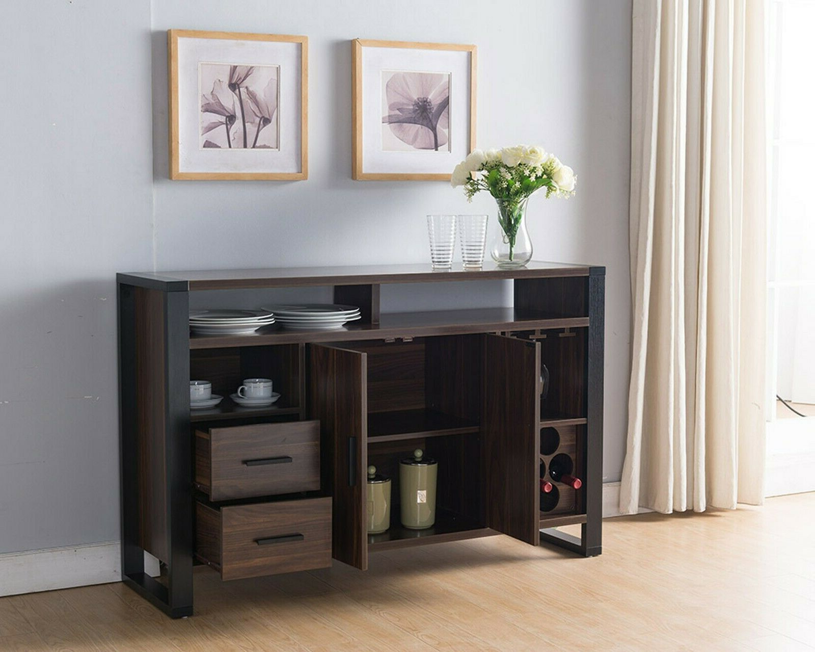 161640 Smart Home Dark Walnut & Black Wine Bar Sideboard Buffet Table Pertaining To Sideboards By Wildon Home (Gallery 4 of 20)