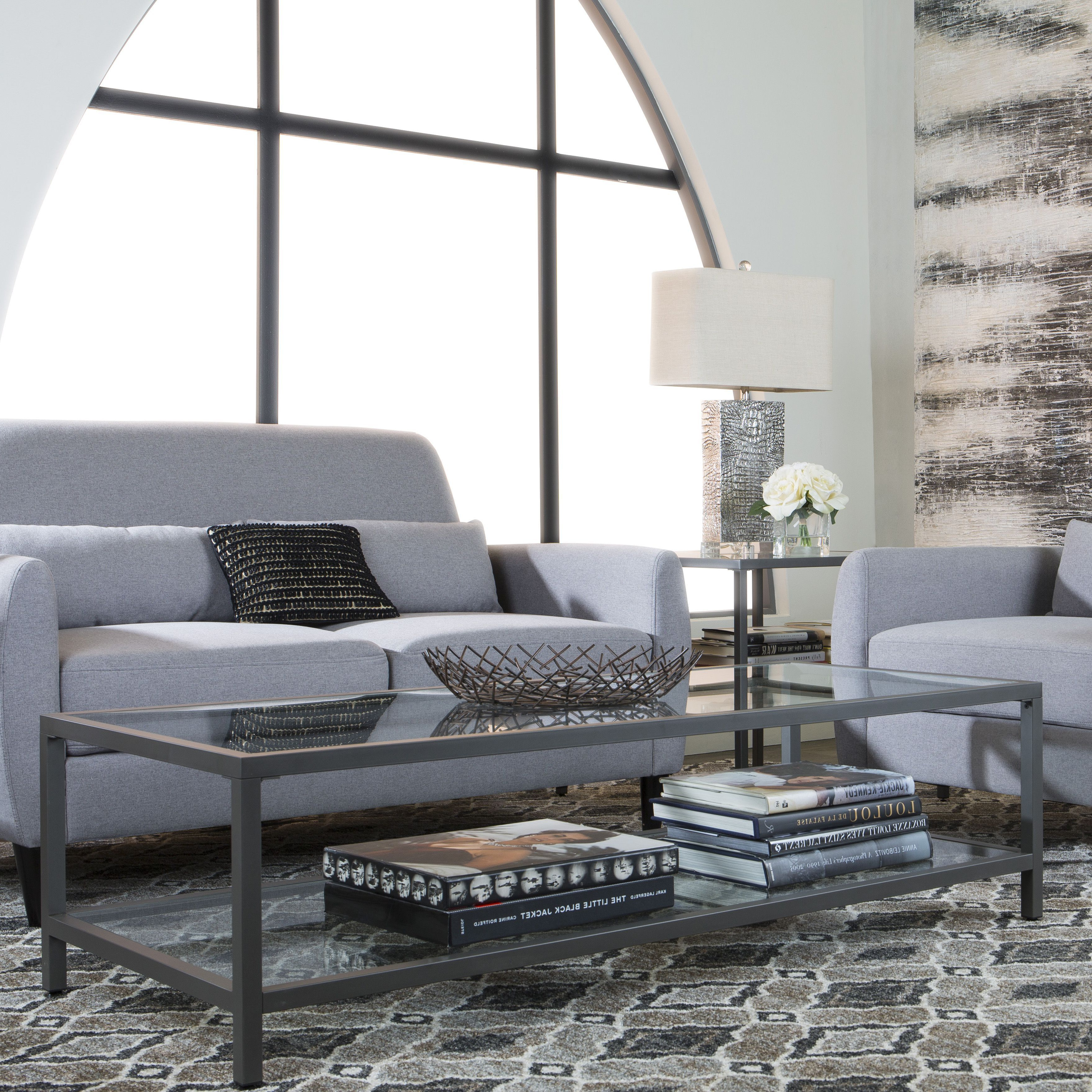 2019 Carbon Loft Heimlich Pewter Steel/glass Round Coffee Tables Regarding Studio Designs Clay Alder Home Blair Metal/glass Rectangle (Gallery 11 of 20)