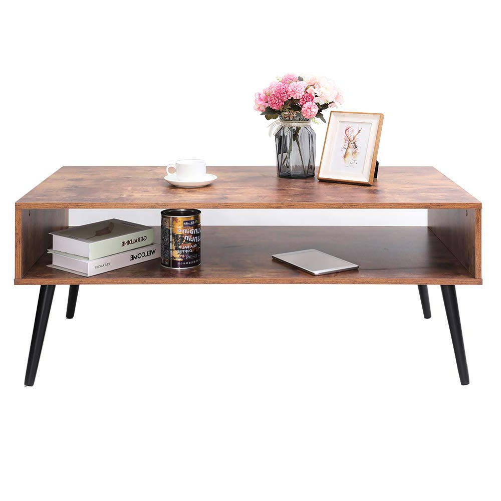 2019 Carson Carrington Astro Mid Century Coffee Tables Pertaining To Amazoncom: Iwell Mid Century Coffee Table With Storage Shelf (Gallery 6 of 20)