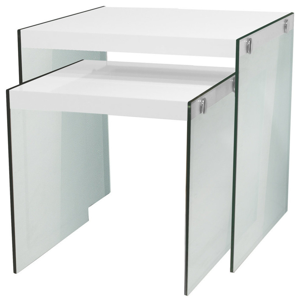 2019 Glossy White Hollow Core Tempered Glass Cocktail Tables Inside Nesting Tables With Tempered Glass, 2 Piece Set, Glossy White (Gallery 9 of 20)